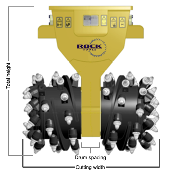 image of the Rock Tools Grinder RTG20 with dimensions